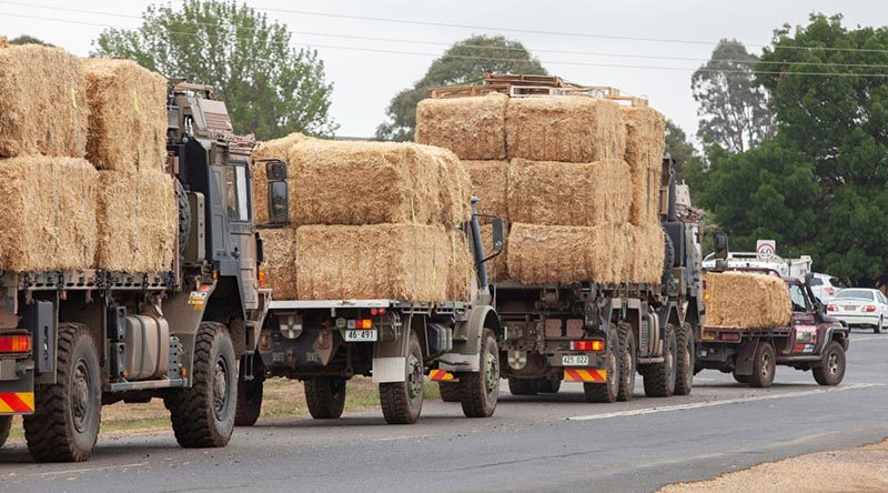 Part of an Australian Army fodder convoy from Cooma to help a local charity distribute donated hay to fire-affected farmers in southern NSW. Some of the hay was trucked from Western Australia. Photo by Sergeant Brett Sherriff.