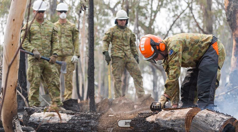 Australian Army Reserves Sapper Luke Willsmore from the 5th Engineer Regiment cuts a smouldering tree in an effort to prevent ongoing fires in the Jerangle region, NSW. Photo by Lance Corporal Brodie Cross.