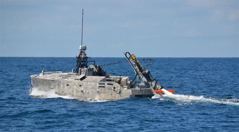 An AQS-24B minehunter being deployed from the Mine Countermeasures Unmanned Surface Vessel. Northrop Grumman photo.