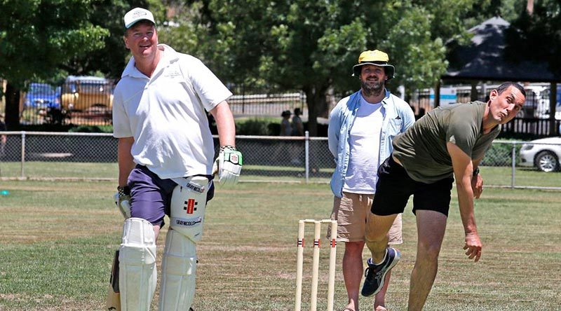 Sergeant Daniel Daleris, of the 2nd Combat Engineer Regiment, bowls during an Australia Day cricket match against the Tumbarumba and District Cricket Association. Photo by Sergeant Dave Morley.