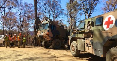 Australian Army soldiers deployed with Joint Task Force 646.5, supported by medics; petroleum operator elements of 7 Combat Service Support Battalion north of Abbeyard in support of Operation Bushfire Assist.