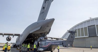 The first of three NH90s is returned to RNZAF Ohakea via RCAF CC-177 Globemaster. NZDF photo.
