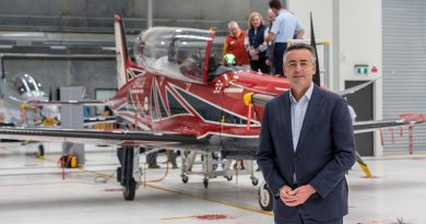 [Then] Minister for Veterans and Defence Personnel Darren Chester in front of a recently delivered Pilatus PC-21 at RAAF Base East Sale. Photo by Corporal Dan Pinhorn.