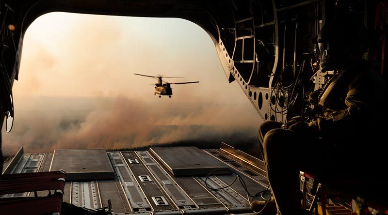 Australian Army CH-47F Chinooks from 5th Aviation Regiment head back to Adelaide from a Bushfire Assist sortie on Kangaroo Island, South Australia. Photo by Corporal Tristan Kennedy.