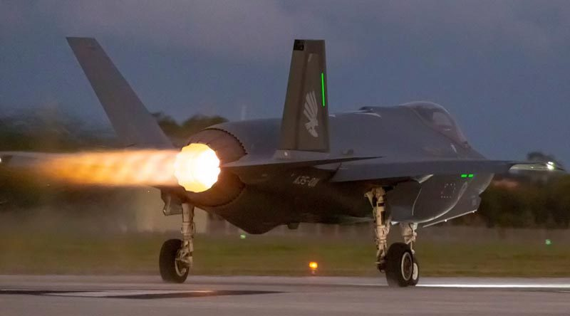 Joint Strike fighter A35-011 from Number 3 Squadron departs for a night sortie from RAAF Base Williamtown. Photo by Sergeant David Gibbs.