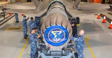A Pratt and Whitney F135 Engine being removed from A35-017 at RAAF Base Williamtown. Photo by Corporal Craig Barrett.
