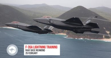 Six RAAF F-35A Lightning Its are expected to make touch-and-go landings at Richmond on 26 February 2020.