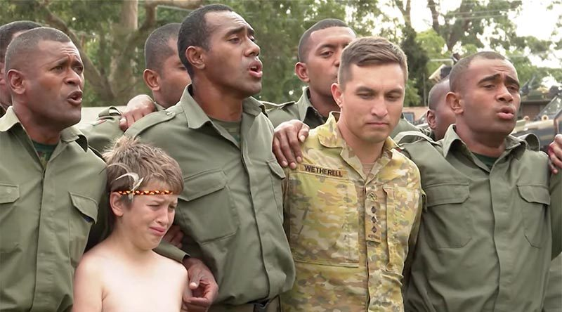 An emotional farewell for the Fijian Bushfire Assist contingent at Orbost, Victoria.