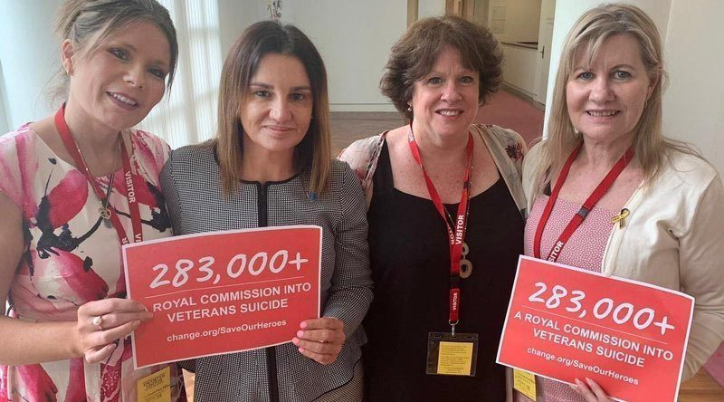 Julie-Ann Finney (right) at Australia's Parliament House with Colleen Pillen, Nikki Jamieson and Senator Jacqui Lambie.