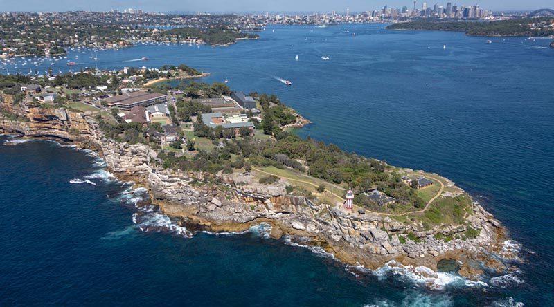 An aerial view of Royal Australian Navy establishment HMAS Watson, Sydney. Photo by Able Seaman Leo Baumgartner.