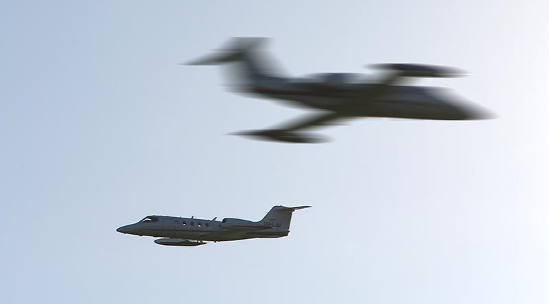 Two Lear Jets (now LearJATTS?), based in Nowra, NSW, used as air targets and opposing forces for ADF training and exercises. Photo by Brian Hartigan.