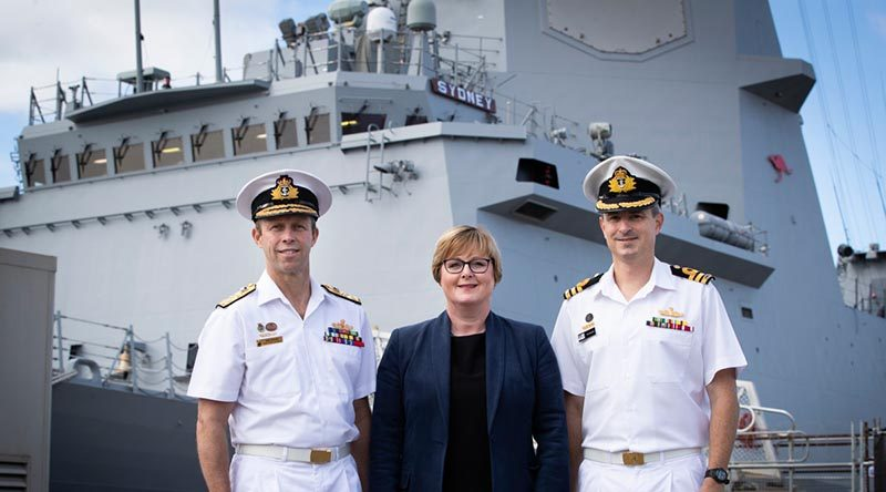 Chief of Navy Vice Admiral Michael Noonan, Minister for Defence Linda Reynolds and Commander Ted Seymour, Commanding Office of NUSHIP Sydney, as the Royal Australian Navy marked the delivery of its third Air Warfare Destroyer. Photo by Kym Smith.