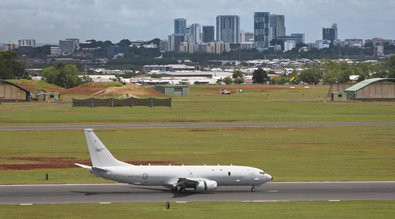 A P-8A Poseidon arrives at RAAF Base Darwin. Photo by Able Seaman Kayla Hayes.