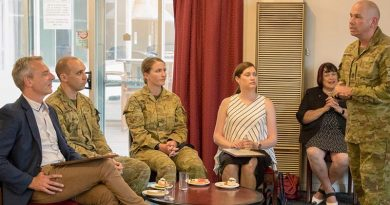 Regimental Sergeant Major of Joint Task Force 1111 Warrant Officer Class One Rick Cartwright, addresses employers of Reservists at Keswick Barracks, South Australia. Photo by Private Diana Jennings.