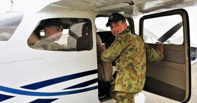 CSGT Chevvy Dolan (608 Squadron, AAFC) prepares for an air experience flight from Gawler Airfield in a Cessna Skyhawk C172-S operated by Adelaide Biplanes.