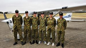 Participants in an air experience flight from Gawler Airfield, pictured with an S' model Cessna Skyhawk C172 (left to right): LCDT James Chant, CDT Zac Baker, CDT Lorry Bonnett, LCDT Tom Shaw, LCDT Kira Scott-Halliday and CSGT Chevvy Dolan.