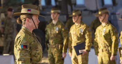 Major General Susan Coyle addresses members of Force Protection Element 12 before their departure from Afghanistan. ADF photo.