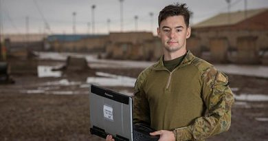 Australian Army Signaller Jacob Gatehouse is deployed with Theatre Communications Group at the Taji Military Complex, Iraq. Photo by Corporal Nunu Campos.