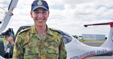 Leading Cadet Dominic McCosh, 413 Squadron, with one of the AAFC's Diamond DA40 NG aircraft at Warrnambool airfield. Photo by PLTOFF(AAFC) Jane McDonald.