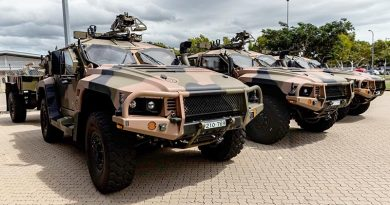 Brand spanking new Hawekei PMV-Ls lined up in 1RAR compound, Lavarack Barracks, Townsville. 1RAR photo from Facebook.