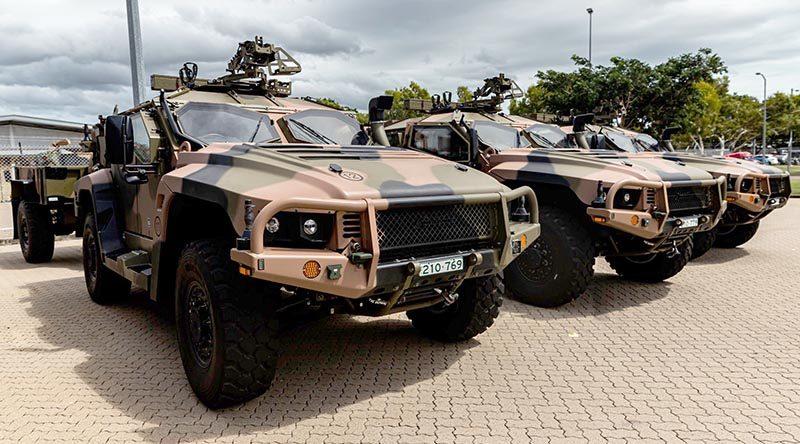 Brand spanking newHawekei PMV-Ls lined up in 1RAR compound, Lavarack Barracks, Townsville. 1RAR photo from Facebook.