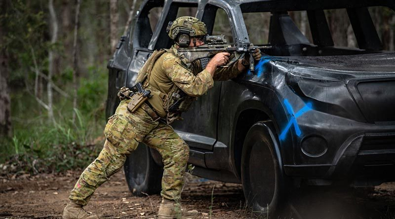 An Australian Army soldier in competition at the Australian Army Skill at Arms Meeting at Greenbank Training Area, Queensland. Photo by Private Jacob Hilton.