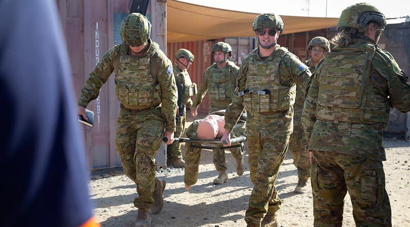 James Stevens MP, Member for Sturt, participates in combat first aid training during an ADF Parliamentary Program visit to Australia's main operating base in the Middle East. Photo by Leading Seaman Craig Walton.