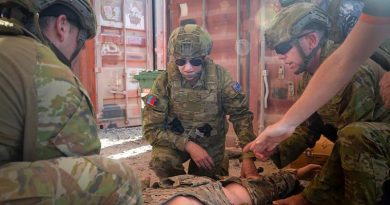 Senator Hollie Hughes participates in combat first aid training during her visit to Australia's main operating base in the Middle East region. Photo by Leading Seaman Craig Walton.
