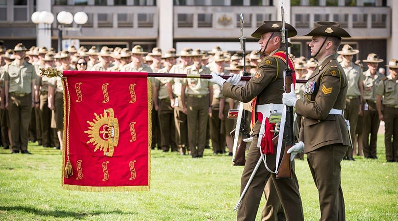 The Australian Army Banner on parade at Russell Offices in Canberra to celebrate the Australian Army's 119th birthday. ADF photo.