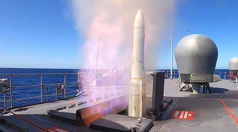 HMAS Arunta fires an Evolved Sea Sparrow missile off the coast of Western Australia to test its missile systems after undergoing the Anzac Midlife Capability Assurance Program upgrade. Photo by Leading Seaman Ronnie Baltoft.