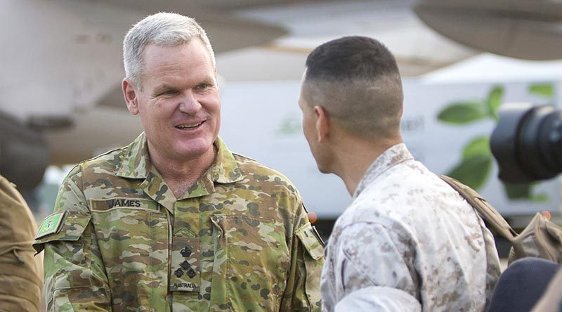Brigadier Ben James, Commander 1 Brigade, farewells United States Marines at RAAF Base Darwin, after a successful six months with the Marine Rotational Force - Darwin. Photo by Able Seaman Kayla Hayes.