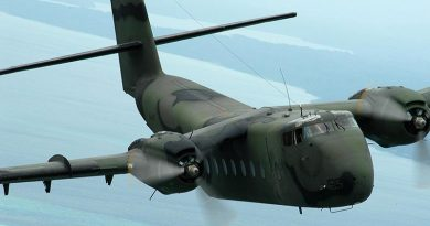 RAAF Caribou A4-195 on a RAMSI mission over the Solomon Islands, September 2003. Photo by Brian Hartigan.