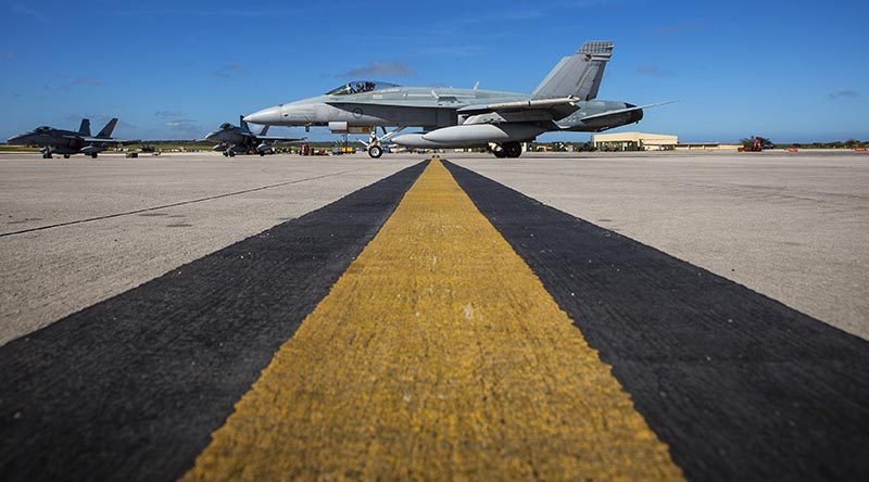 A No. 77 Squadron F/A-18A Hornet taxis at Andersen Air Force Base during Exercise Cope North 20 in Guam. Photo by Corporal David Said.