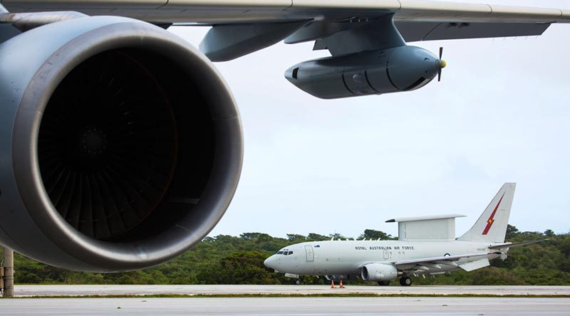 A No. 2 Squadron E-7A Wedgetail taxis out to the Andersen Air Force Base runway during Exercise Cope North 20 in Guam. Photo by Corporal David Said.