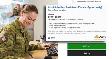 Composite SEEK/DFR recruitment ad for Administration Assistant (Female). Digitally altered by CONTACT.
