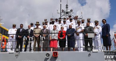 Australian and Fijian delegations at the handover of a new Guardian-class patrol boat to Fiji. Photo from Minister Reynolds' Facebook page.