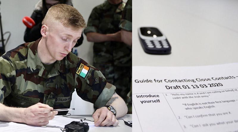 A cadets from the Irish Army's 96th Cadet Class in training with the National Health Service to conduct 'contact tracing' as Ireland combats the corona virus. Óglaigh na hÉireann photo.