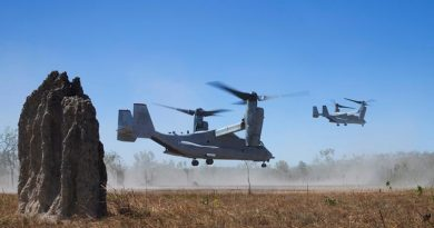 Two United States Marine Rotational Force – Darwin MV-22 Osprey take off during Exercise Koolendong at Mount Bundey Training Area. Photo by Private Nicole Dorrett.