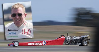 Sergeant Dean Hart sets a new New Zealand land speed record in his home-built Rolls Royce Viper jet-powered dragster at RNZAF Base Ohakea. NZDF photo.
