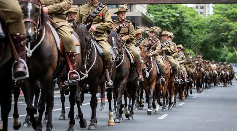 The ADF says approximately 80 (local media say 67) riders from historical re-enactment troops ride through the streets of Brisbane to mark the 160th anniversary of the raising of the Queensland Defence Force. Photo by Corporal Jessica de Rouw.