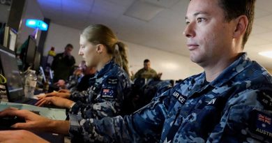 RAAF personnel in the Air Operations Center at Red Flag 20-1. US Air Force photo by Shelton Keel.