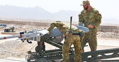 Australian soldiers prepare a Shadow 200 UAV for a mission at Tarin Not, Afghanistan, September 2012. Photo by Brian Hartigan.