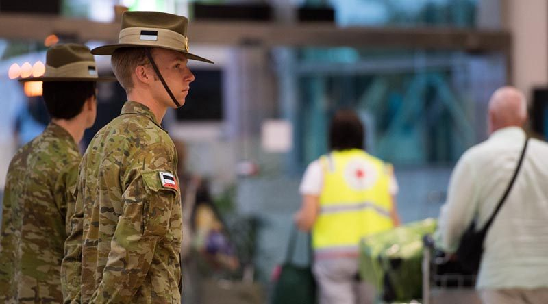 Australian Army reservist Private Connor Styles from the 9th Battalion, Royal Queensland Regiment, supporting the mandatory COVID-19 quarantine arrangements for international travellers at Brisbane Airport, Queensland. Photo by Trooper Jonathan Goedhart.