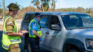 Soldiers from 16th Battalion, the Royal Western Australia Regiment, assist police at a WA check point over the Easter long weekend, on Operation COVID-19 Assist. 13 Brigade photo.