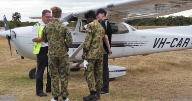 "CDT Gladwin Shekarr, CDT Billy Morgan and LCDT Bradley Gallimore from 708 Squadron receive a pre-flight brief from RACWA pilot instructor Mark Dawson before their flight in a Cessna 172R Skyhawk. Cadet Morgan later said, ""There really was no way to get bored on that flight"". Photo supplied by PLTOFF(AAFC) Alex Hartner."