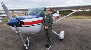 Cadet Under Officer Emily Philippe (708 Squadron) before her flight in a Cessna A152 Aerobat operated by the Royal Aero Club of WA at Jandakot. Photo supplied by PLTOFF(AAFC) Alex Hartner.