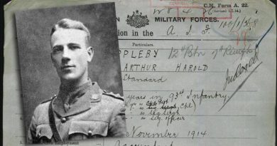Captain Arthur Harold Appleby and an extract from his service record.