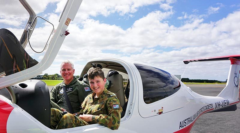 Cadet Aaron Cahill with his instructor Pilot Officer (AAFC) Chris Hulley from the AAFC's Elementary Flying Training School. Photo by PLTOFF(AAFC) Jane McDonald.