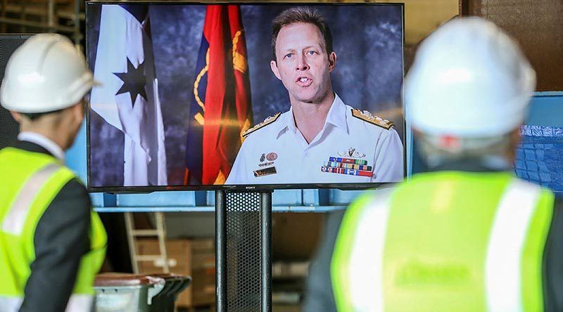 Chief of Navy Vice Admiral Michael Noonan addresses the keel laying ceremony for offshore patrol vessel 2 NUSHIP Eyre via video link. Photo by Russell Millard.