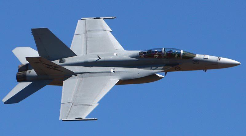 A RAAF F/A-18F at Avalon Airshow. Photo by Brian Hartigan.